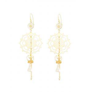 Boucles d'oreille mandala blanches et plaqué or, bijoux fantaisie, bijoux de créateur, made in France
