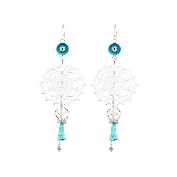 Boucles d'oreille mandala bleues et argent, bijoux fantaisie, bijoux haute fantaisie, bijoux de créateur, made in France