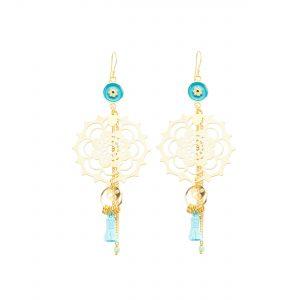 Boucles d'oreille mandala bleues et plaqué or, bijoux fantaisie, bijoux haute fantaisie,bijoux de créateur, made in France