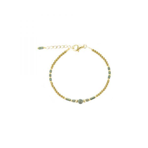 Bracelet Luna irisé bleu plaqué or, bijoux fantaisie, bijoux de créateur, made in France,bracelet