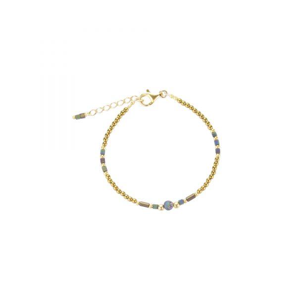 Bracelet Luna irisé doré plaqué or, bijoux fantaisie, bijoux de créateur, made in France, bracelet, cote d'azur