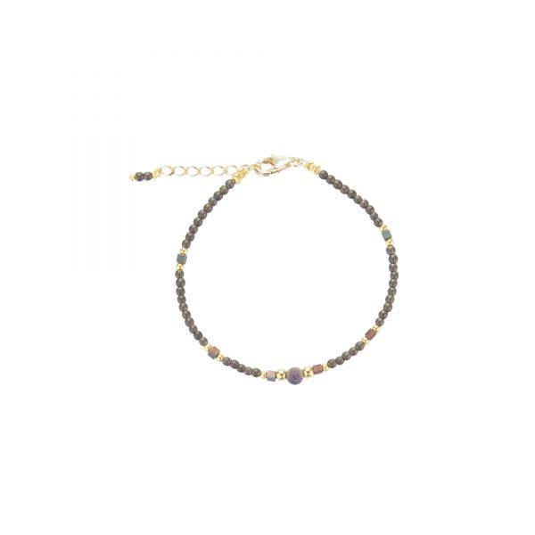 Bracelet Luna irisé prune plaqué or, bijoux fantaisie, bijoux de créateur, made in Franceletce, cote d'azur, bra