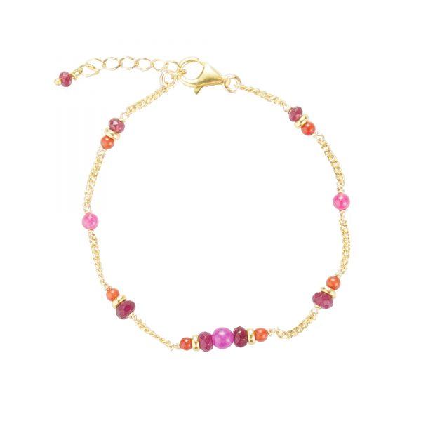 Bracelet Shiva plaqué or rouge, bijoux fantaisie, bijoux de créateur, made in France, bracelet