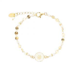 Bracelet Tara plaqué or blanc, bijoux fantaisie, bijoux de créateur, bracelet, made in France