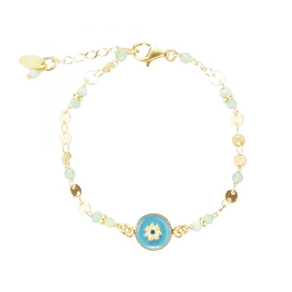 Bracelet Tara plaqué or bleu, bijoux fantaisie, bijoux de créateur, made in France, bracelet