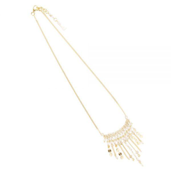 Collier Shiva blanc plaqué or, bijoux fantaisie, bijoux de créateur, made in France, collier