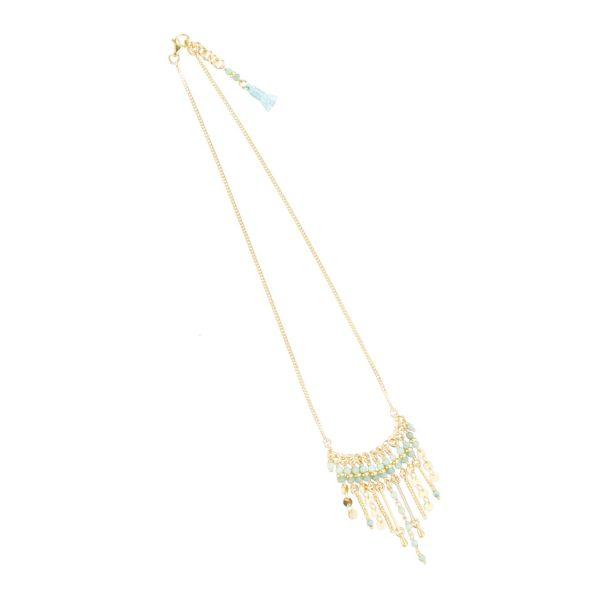 Collier Shiva bleu plaqué or, bijoux fantaisie, bijoux haute fantaisie, bijoux de créateur, made in France, collier