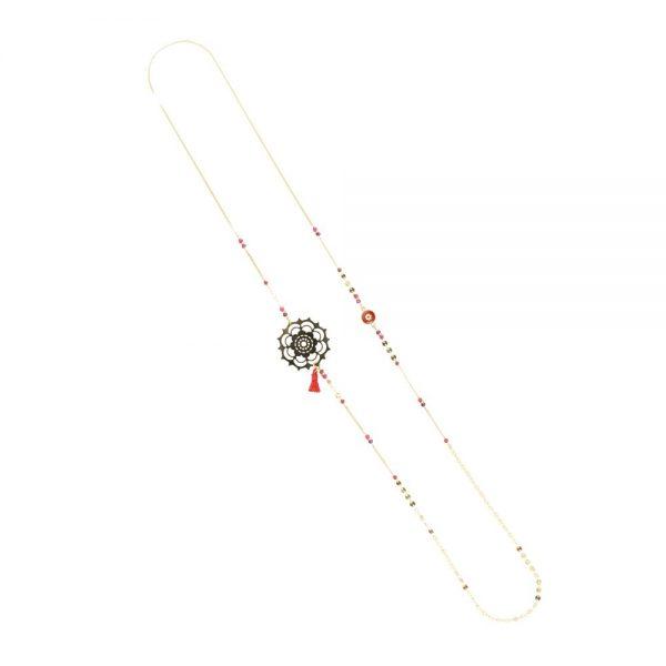 Sautoir Mandala plaqué or rouge, bijoux fantaisie, bijoux de créateur, made in France, sautoir, cote d'azur