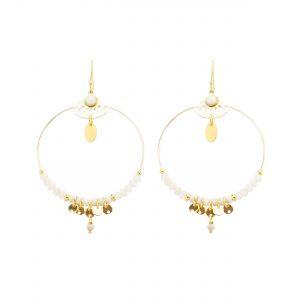 Boucles d'oreille Shiva blanches, bijoux fantaisie, bijoux de créateur, boucles d'oreille, made in France