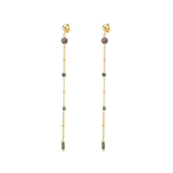 Boucles d'oreille Céleste bleu plaqué or, bijoux fantaisie, bijoux de créateur, made in France, Juan les pins