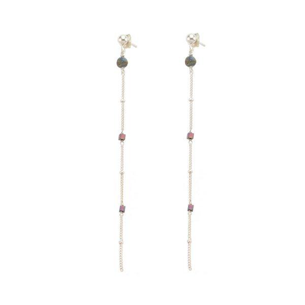 Boucles d'oreille Céleste prune argent, bijoux fantaisie, bijoux de créateur, made in France, Juan les pins