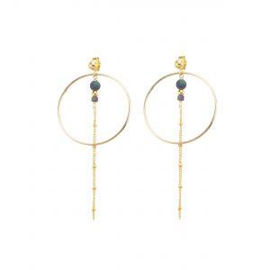 Boucles d'oreille Séléna prune plaqué or, bijoux fantaisie, bijoux de créateur, made in France, Juan les pins