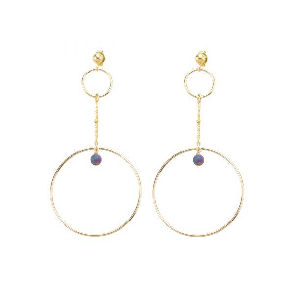 Boucles d'oreille Stella prune plaqué or, bijoux fantaisie, bijoux de créateur, made in France, Juan les pins