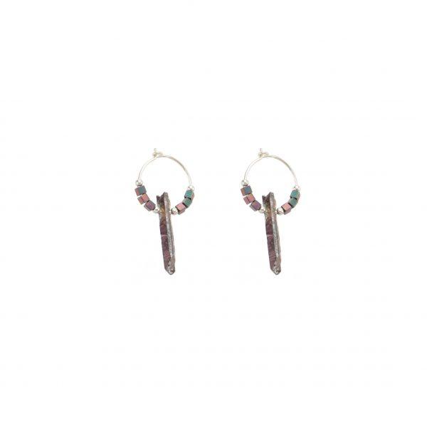 Boucles d'oreille Céleste prune argent, bijoux haute fantaisie, bijoux de créateur, made in France, Juan les Pins