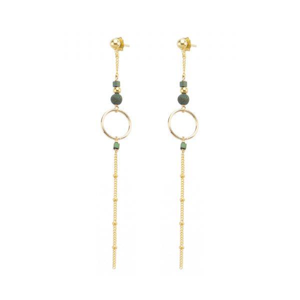 Boucles d'oreille Luna bleu plaqué or, bijoux fantaisie, bijoux haute fantaisie, bijoux de créateur, made in France, Juan les Pins