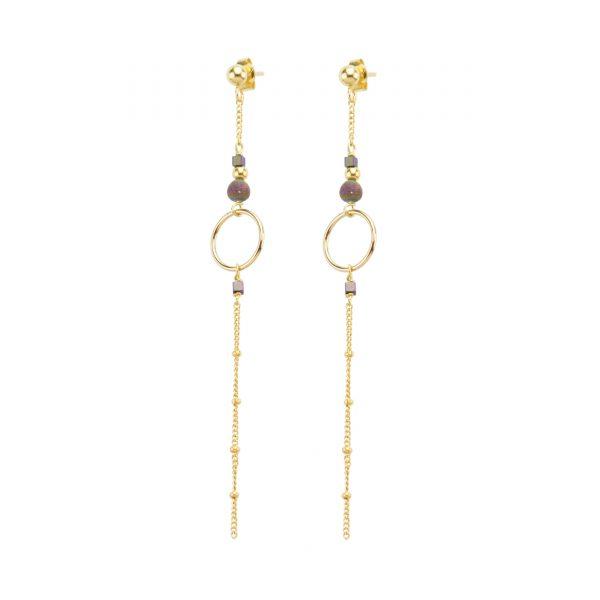 Boucles d'oreille Luna prune plaqué or , bijoux haute fantaisie, bijoux de créateur, made in France, Juan les pins