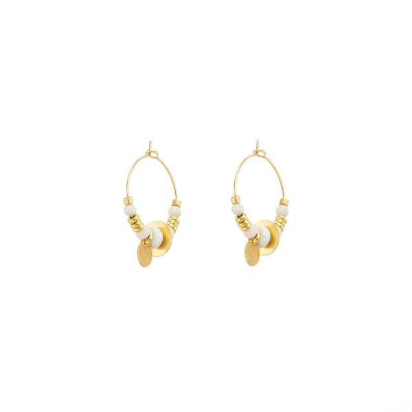 Boucles d'oreille sutra blanches, bijoux fantaisie, bijoux de créateur, made in France, Juan les pins