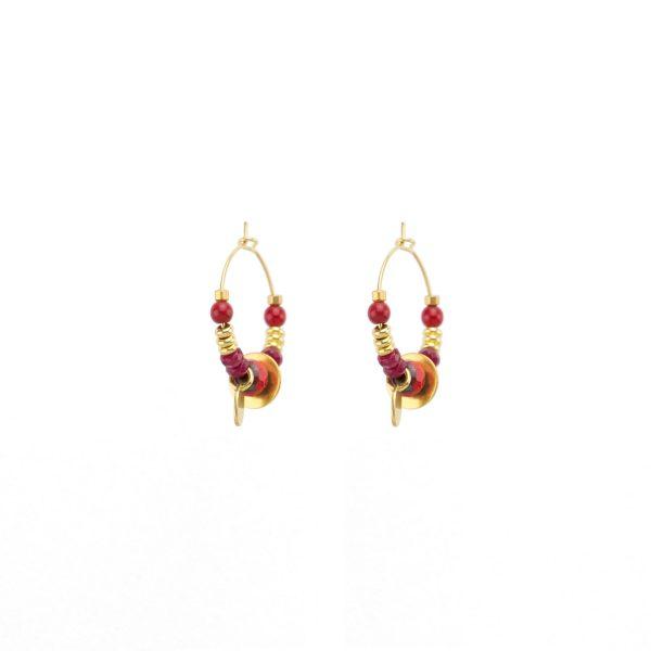 Boucles d'oreille Sutra rouges, bijoux fantaisie, bijoux haute fantaisie, créateur de bijoux , Antibes