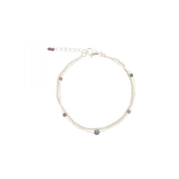 Bracelet Céleste prune argent, bijoux fantaisie, bijoux de créateur, made in France, Juan les pins