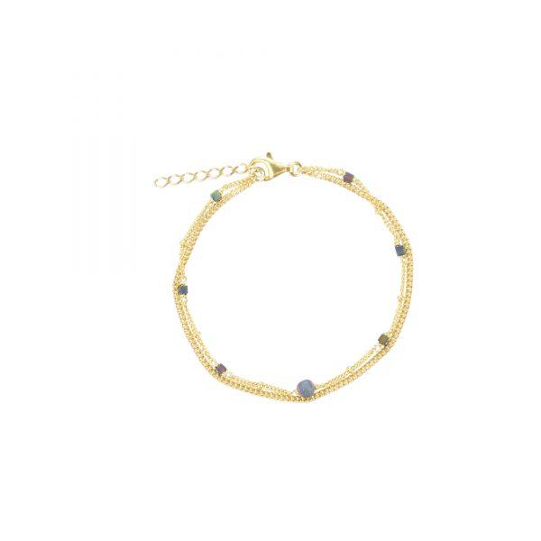 Bracelet Céleste prune plaqué or: composé de 2 chaines dont une parsemée de petites Hématites de couleur prune avec des reflets iridescent naturels, bijoux fantaisie, bijoux de créateur, made in France, Juan les pins
