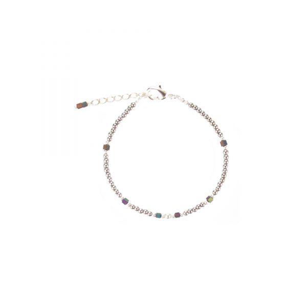Bracelet Cassiopée prune argent, bijoux fantaisie, bijoux haute fantaisie, bijoux de créateur, made in France, Juan les pins