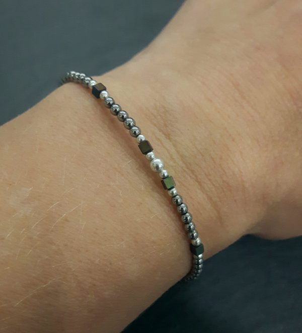 Bracelet Cassiopée prune argent, bijoux fantaisie, bijoux de créateur, made in France, Juna les pins