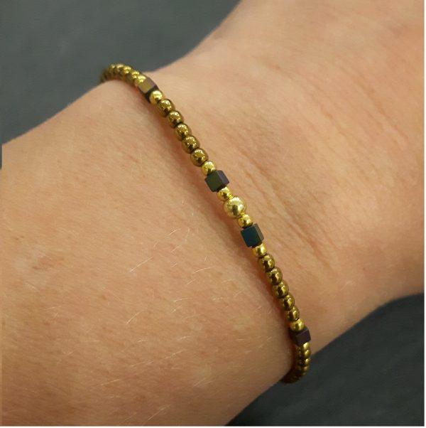 Bracelet Cassiopée prune doré bijoux fantaisie, bijoux fantaisie, bijoux de créateur, made in France, Juan les pins