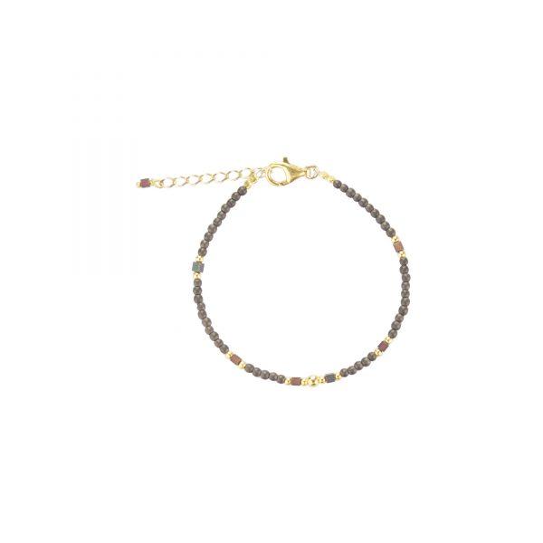 Bracelet Cassiopée prune plaqué or, bijoux haute fantaisie, bijoux de créateur, made in France,, Juan les pins