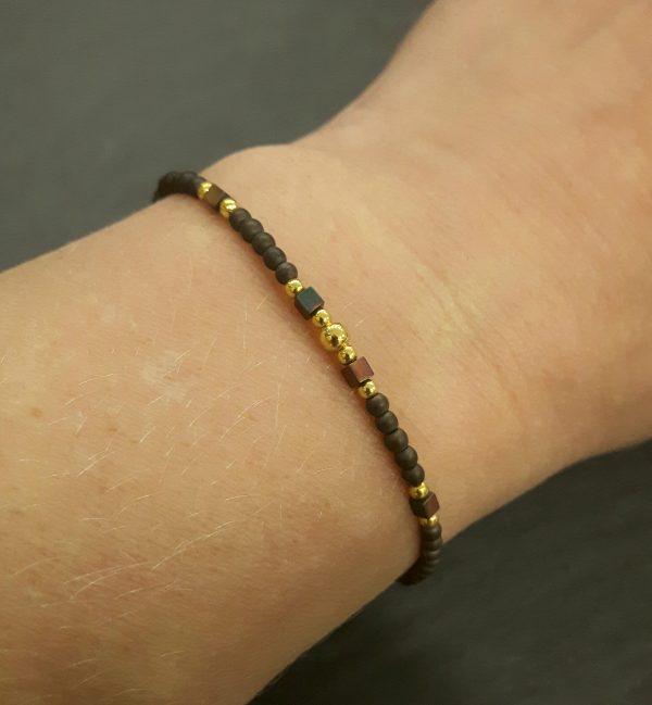 Bracelet Cassiopée prune plaqué or, bijoux fantaisie, bijoux de créateur, made in France, Juan les pins