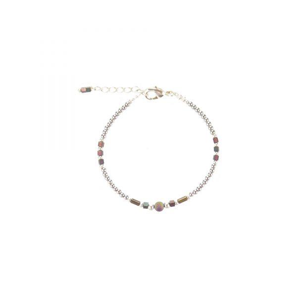 Bracelet Luna irisé prune argent, bijoux haute fantaisie, bijoux de créateur, made in France, cote d'azur, juan les pins