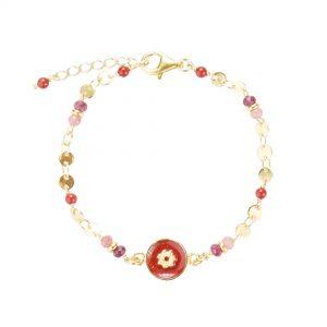 Bracelet Tara rouge plaqué or , bijoux fantaisie, bijoux de créateur, bijoux hautes fantaisie, made in France, Juan les pins