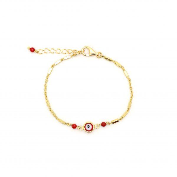 Bracelet Evil eye rouge plaqué or, bijoux fantaisie, bijoux de créateur, made in France, Antibes, Juan les pins