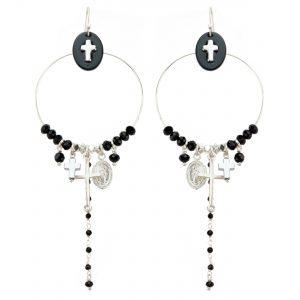 Boucles d'oreille Jeanne onyx noir, bijoux fantaisie, bijoux de créateur, made in France, Juan les pins