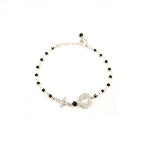 Bracelet Croix Onyx noir argentbijoux fantaisie, bijoux de créateur, made in France, Antibes Juan les pins