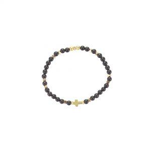 Bracelet Jeanne Agate noire plaqué or, bijoux fantaisie, bijoux de créateur, made in France, Juan les pins Antibes