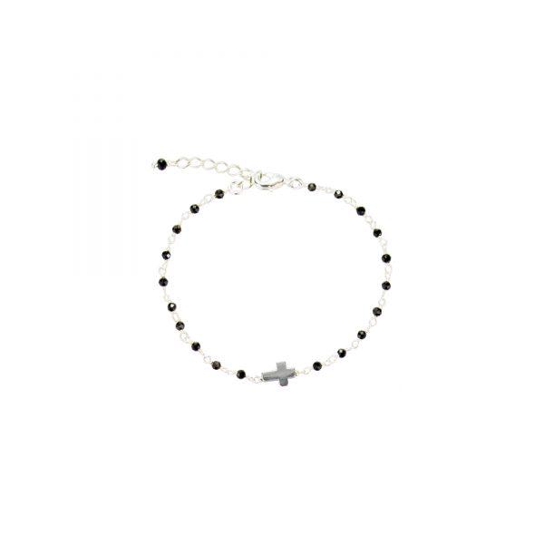 bracelet rosaire Onyx noires , bijoux fantaisie, bijoux de créateur, made in France Antibes Juan les pins
