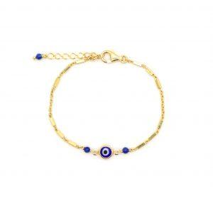 Bracelet Evil eye bleu doré or fin 24 carats , bijoux fantaisie, bijoux de créateur, made in France, Antibes, Juan les pins