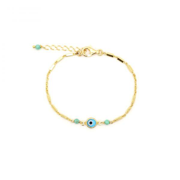 Bracelet Evil eye turquoise doré or fin 24 carats