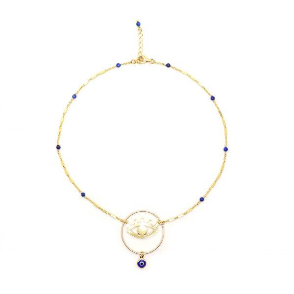 Collier Evil eye bleu plaqué or, bijoux fantaisie, bijoux de créateur, créations artisanales, made in France, Antibes, Juan les pins