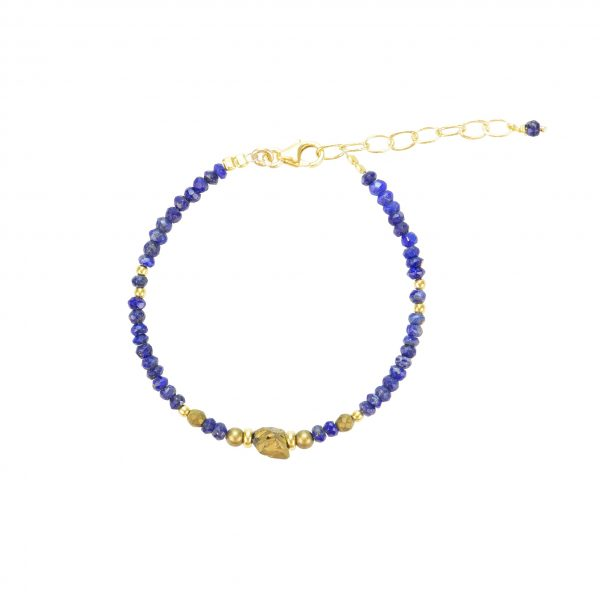 Bracelet Kim Lapis Lazuli Pyrite gold- filled 15.5 cm bijoux fantaisie