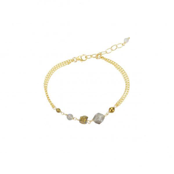 Bracelet Emma Labradorite goldfilled 15.5 cm collection Fragment La petite fabric de bijoux