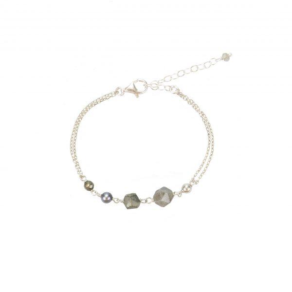Bracelet Emma argent Pierres Labradorite, Pyrites, Hématites… Création artisanales françaises. Bijoux Fantaisie minimalistes et tendances