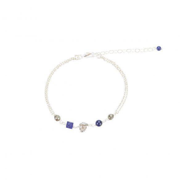 Bracelet Emma argent Pierres Lapis Lazuli, Pyrites, Hématites… Création artisanales françaises. Bijoux Fantaisie minimalistes et tendances