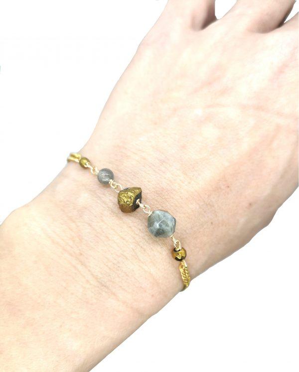 Bracelet Emma Malachite gold-filled 14 k - Pierres semi- précieuses Labradorite 15.5 cm réglable