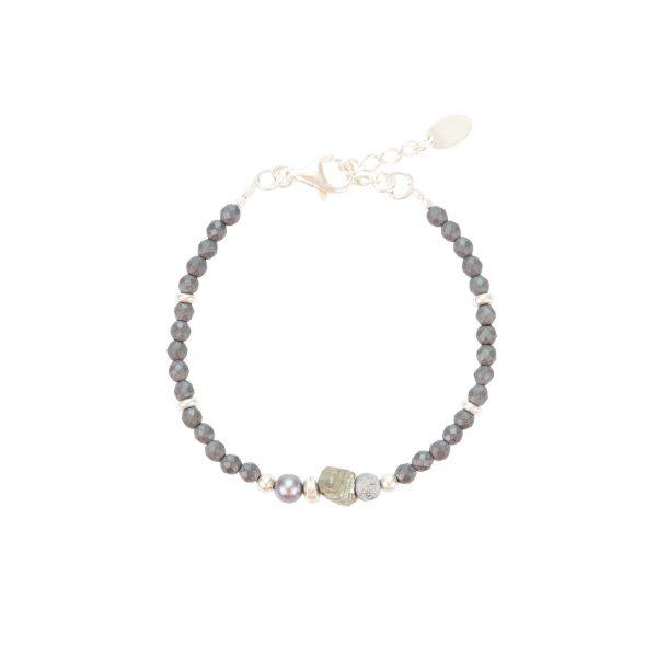 Bracelet Kim Fragment Hématite Pyrite-argent 925- 15.5 cm -