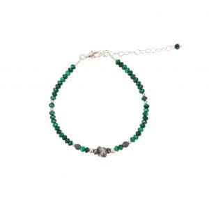 Bracelet Kim Malachite Argent- bijoux fantaisie, made in France, créateur