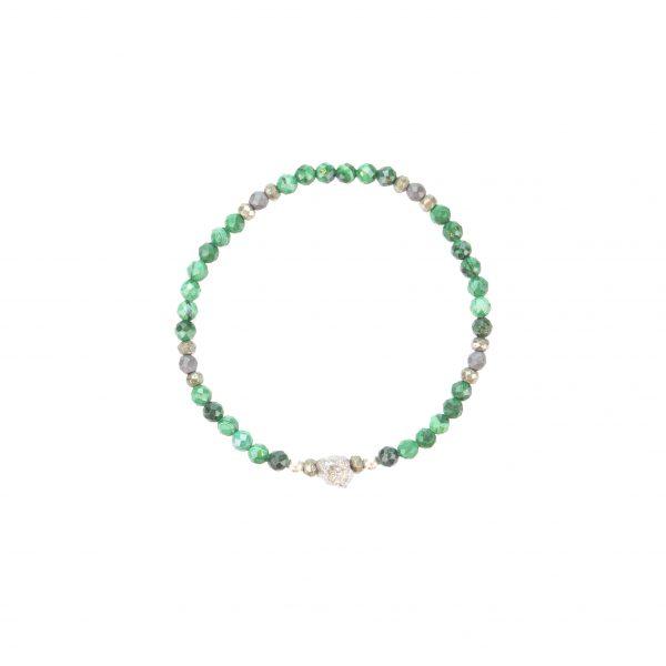 Bracelet Kimy collection Fragment Pierres Malachites , Pyrites, bijoux fantaisie, made in France, créateur de bijoux, juan les pins