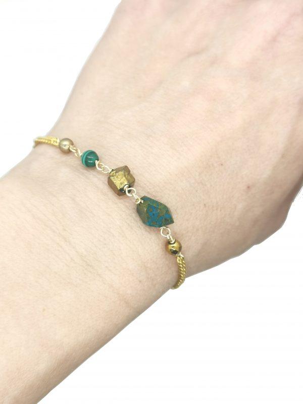 Bracelet Emma Malachite or rempli 14K 15.5 cm