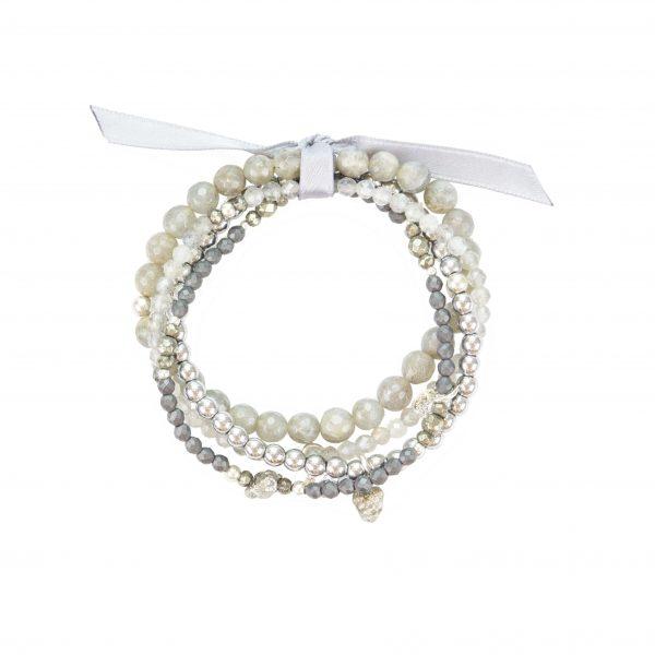 Bracelet multi-rang Alita - collection Fragment Pierres Labradorite, Pyrites, Hématites, bijoux fantaisie, créateur, made in France, Juan les pins