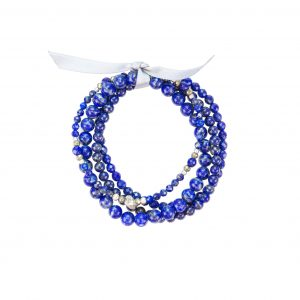 Bracelet multi-rang Alita - collection Fragment Pierres Lapis Lazuli, Pyrites, Hématites, bijoux fantaisie, créateur, made in France, Juan les pins